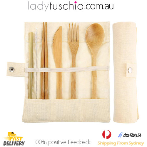 7Pcs Bamboo Cutlery Set - Roll Up Beige