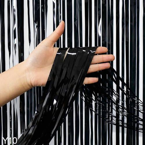 Metallic Tinsel Curtain Foil 2m - Black