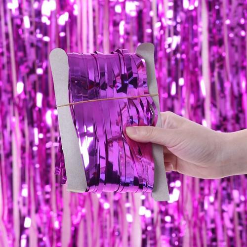 Metallic Tinsel Curtain Foil 2m - Hot Pink