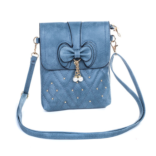 Blue Butterfly Bow with Pearl Crossbody Bag