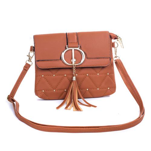 Caramel Double D Design with Golden Stud Crossbody Bag