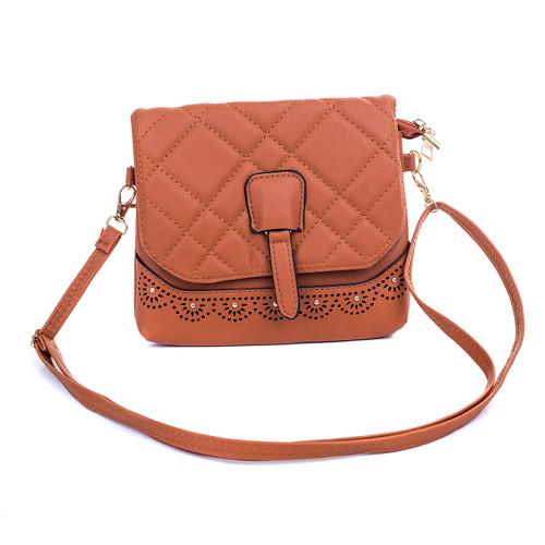 Caramel Golden Stud Crossbody Bag