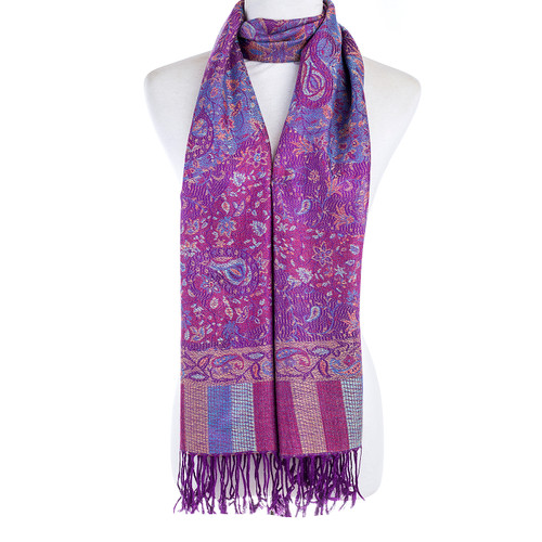 Women 100% Pashmina Premium Winter Scarf Wrap Purple
