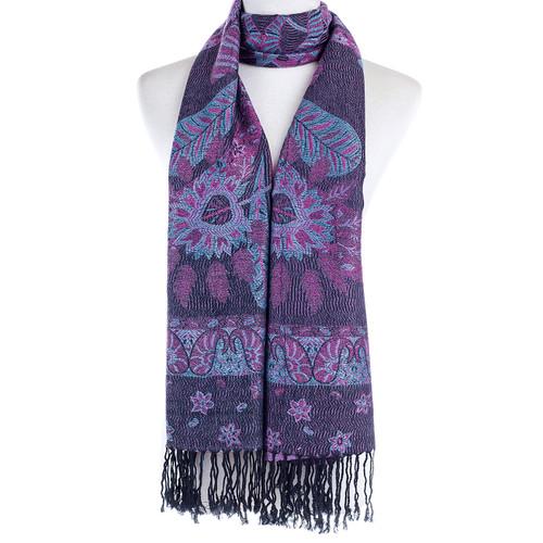 Women 100% Pashmina Premium Winter Scarf Wrap Black & Wine SCP623