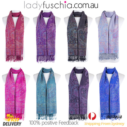 Women 100% Pashmina Premium Winter Scarf Wrap Purple SCP625