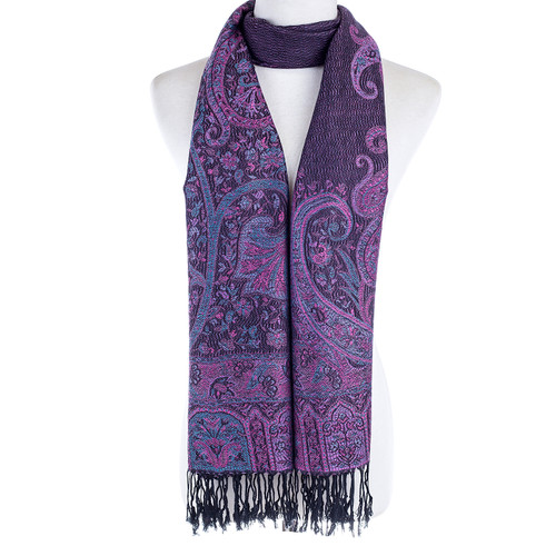 Women 100% Pashmina Premium Winter Scarf Wrap Black & Purple SCP625