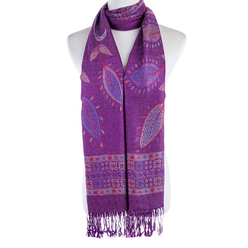 Women 100% Pashmina Premium Winter Scarf Wrap Purple SCP627