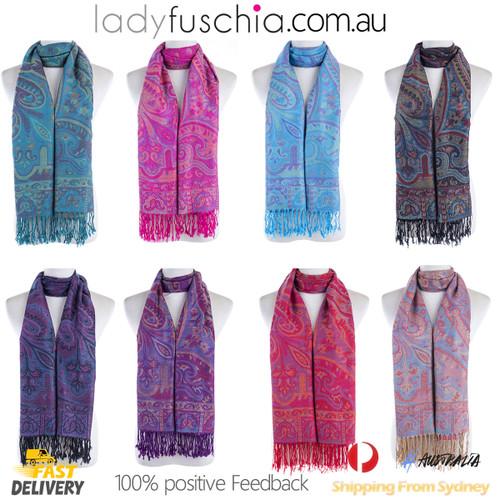 Copy of Women 100% Pashmina Premium Winter Scarf Wrap Navy & PinkSCP629