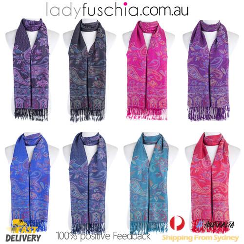 Women 100% Pashmina Premium Winter Scarf Wrap Black & Green SCP632