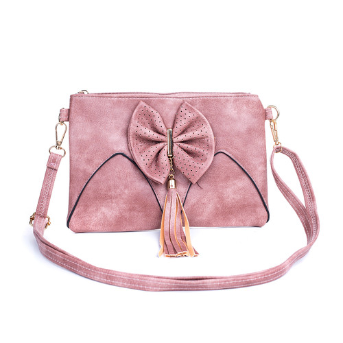 Pink Caramel Butterfly Bow with Tassel Crossbody Bag