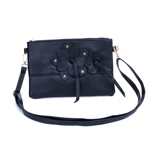 Black Butterfly Embroidered Crossbody Bag