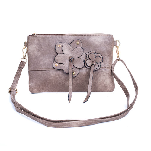 Grey Butterfly Embroidered Crossbody Bag