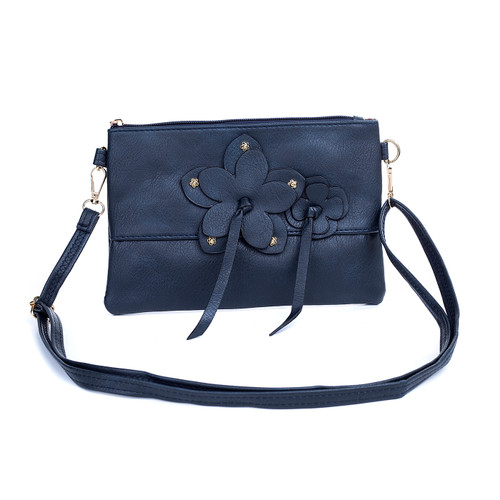 Navy Butterfly Embroidered Crossbody Bag