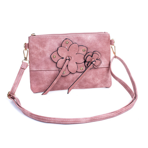 Pink Butterfly Embroidered Crossbody Bag