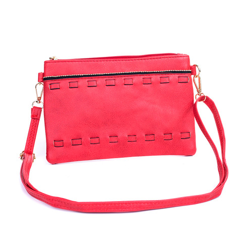 Red Golden strap braided Crossbody Bag
