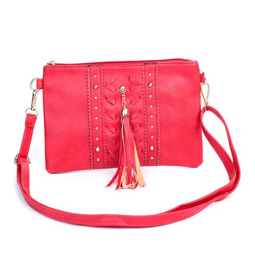 Red Golden Stud with Tassel Braided Crossbody Bag