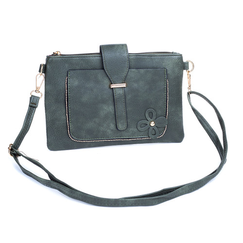 Dark Green Floral Embroided Stud with Clip Crossbody Bag