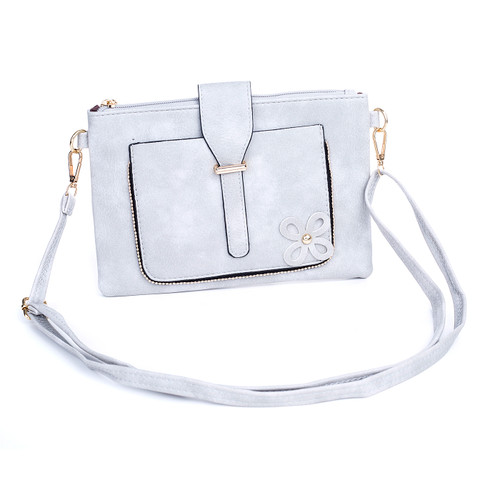 Grey Floral Embroided Stud with Clip Crossbody Bag