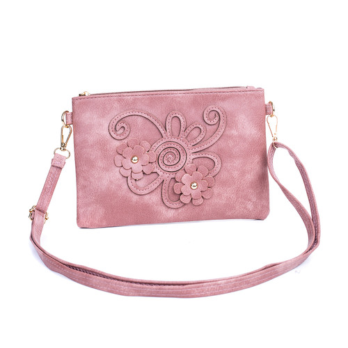 Pink Floral Embroided Crossbody Bag