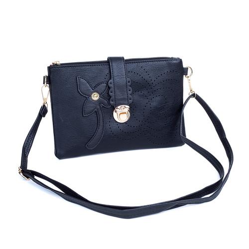 Black Floral Embroided Golden Clip Crossbody Bag