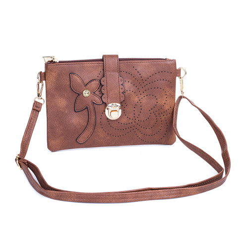 Brown Floral Embroided Golden Clip Crossbody Bag
