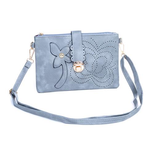 Grey  Floral Embroided Golden Clip Crossbody Bag