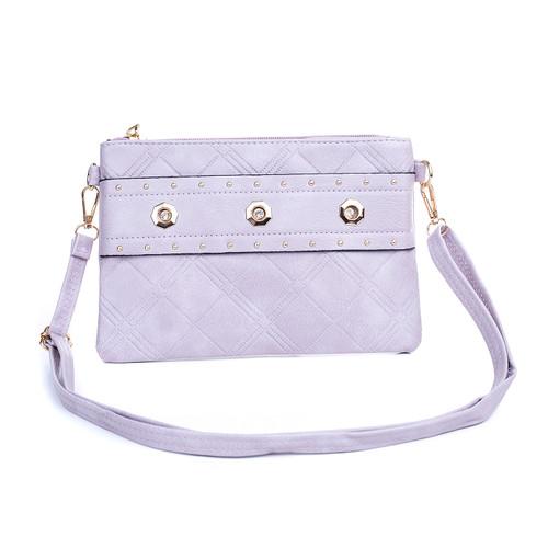 Lilac Big Golden Stud Symmetric with Zip Crossbody Bag