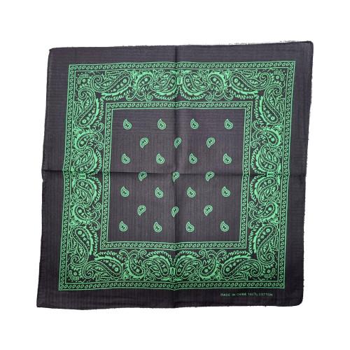 Black  & Green 100% COTTON BANDANAS Paisley Square Head Scarf BPS001