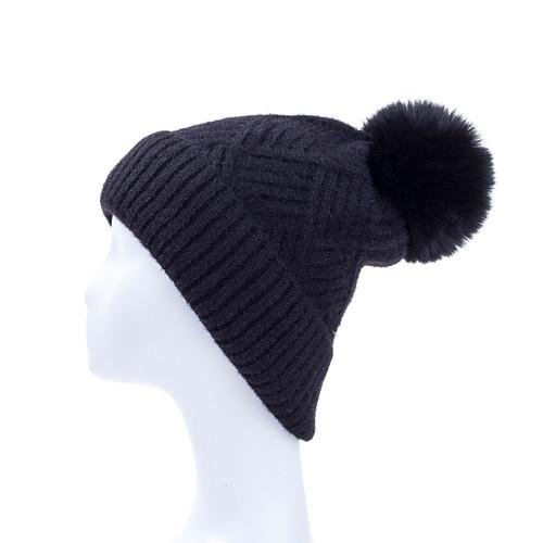 Black Faux Fur Pom Winter Beanie Hat HATM213-1