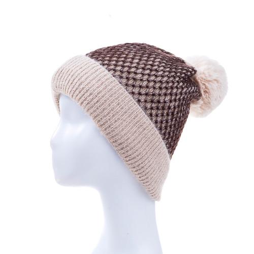 Beige Faux Fur Pom Winter Beanie Hat HATM235-1