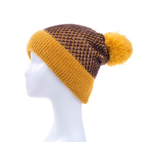 Yellow Faux Fur Pom Winter Beanie Hat HATM235-2