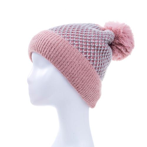 Pink Faux Fur Pom Winter Beanie Hat HATM235-3