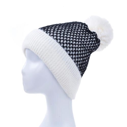 White Faux Fur Pom Winter Beanie Hat HATM235-5