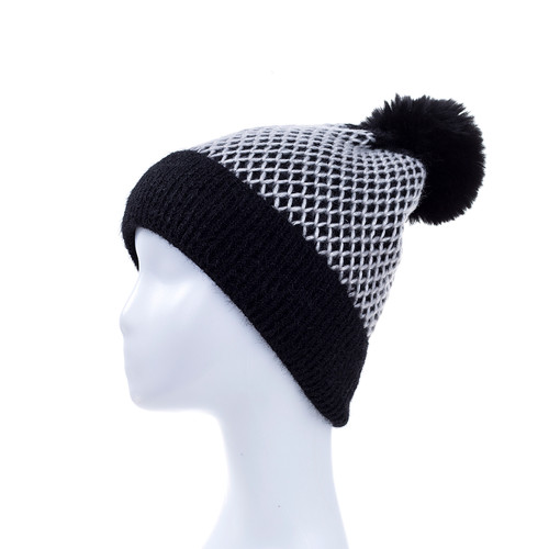 Black Faux Fur Pom Winter Beanie Hat HATM235-6