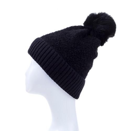Black Faux Fur Pom Winter Beanie Hat HATM237-4