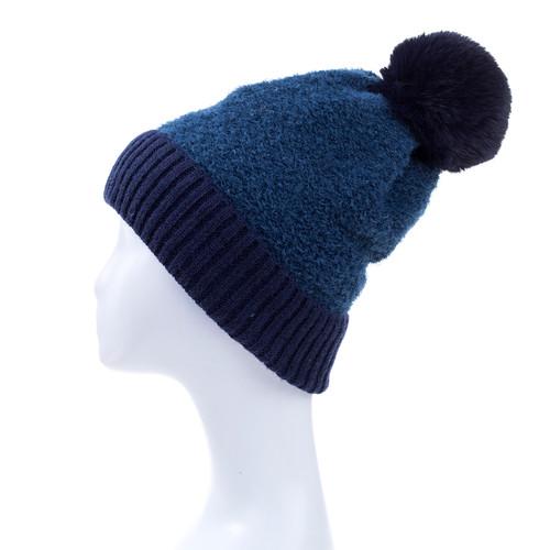 Navy Faux Fur Pom Winter Beanie Hat HATM237-6