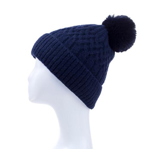 Navy Faux Fur Pom Winter Beanie Hat HATM238-2