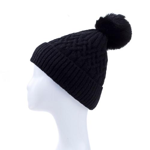 Black Faux Fur Pom Winter Beanie Hat HATM238-3