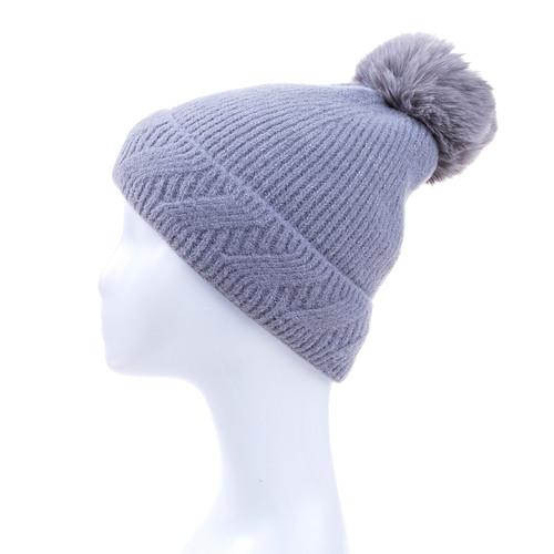 Grey Faux Fur Pom Winter Beanie Hat HATM239-4