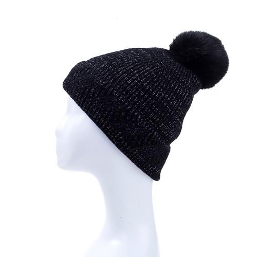 Black Faux Fur Pom Winter Beanie Hat HATM239-5