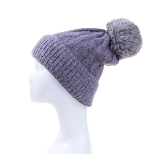 Grey Faux Fur Pom Winter Beanie Hat HATM247-3