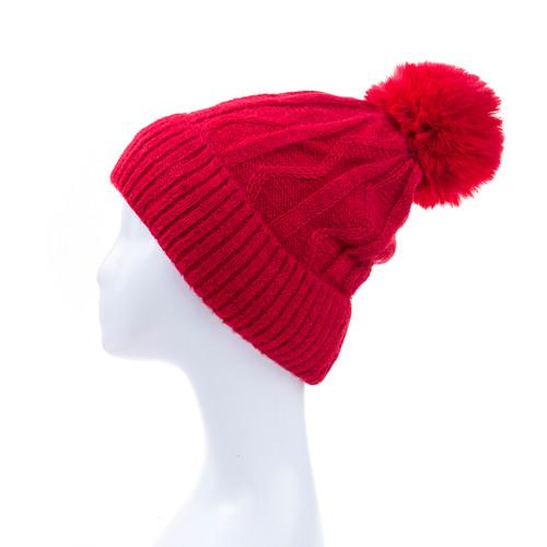 Red Faux Fur Pom Winter Beanie Hat HATM247-5