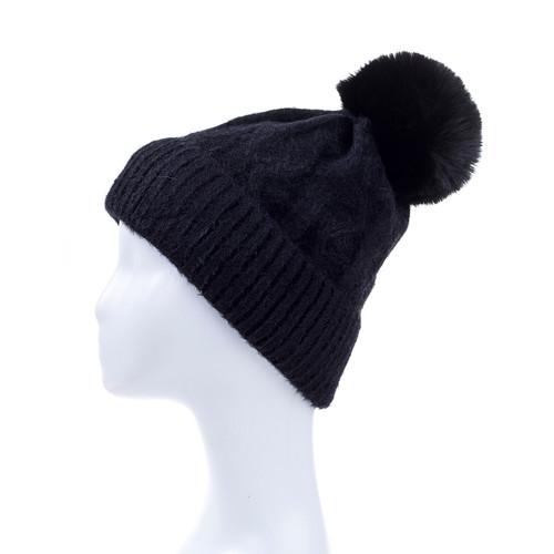 Black Faux Fur Pom Winter Beanie Hat HATM247-6