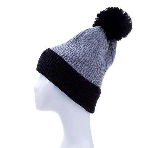 Grey Faux Fur Pom Winter Beanie Hat HATM251-1