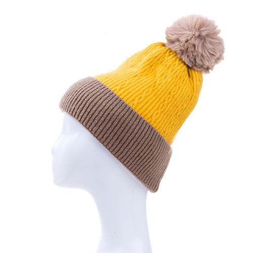 Yellow Faux Fur Pom Winter Beanie Hat HATM251-3