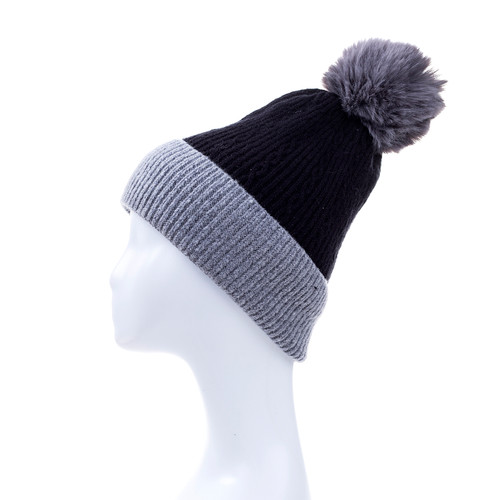 Black Faux Fur Pom Winter Beanie Hat HATM251-4