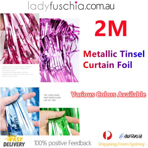 Metallic Tinsel Curtain Foil 2m - Pink