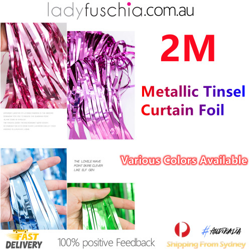 Metallic Tinsel Curtain Foil 2m - Silver1