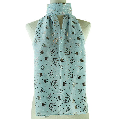 Metallic Crowns Print Blue Scarf