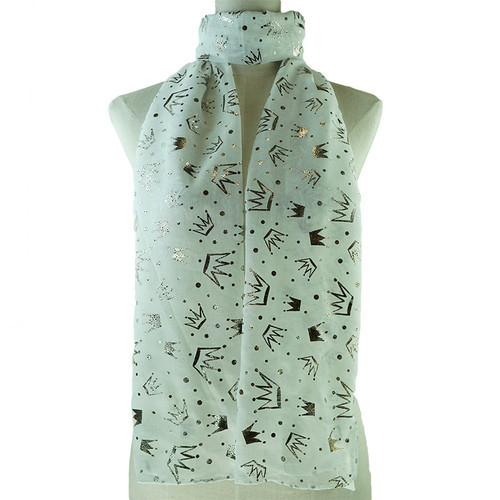 Metallic Crowns Print White Scarf